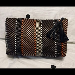 H&M Striped Woven Large Clutch Bag